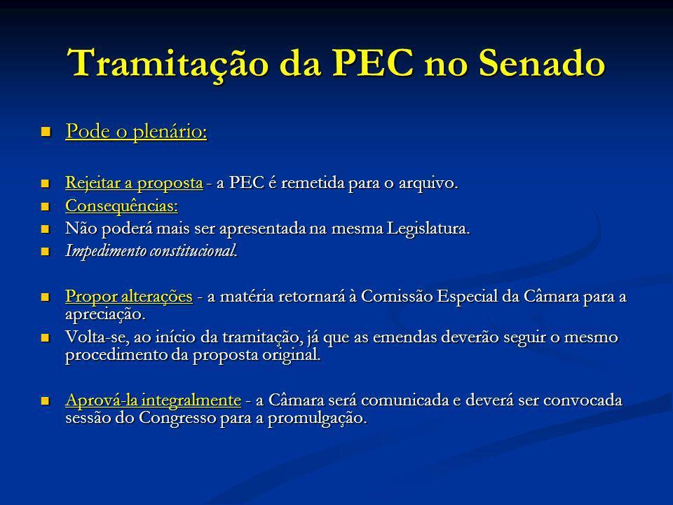 Tramitação da PEC no Senado Pode o plenário: Pode o plenário: Rejeitar a proposta - a PEC é remetida para o arquivo.