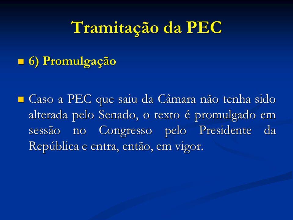 Tramitação da PEC 6) Promulgação 6) Promulgação Caso a PEC que saiu da Câmara não tenha sido alterada pelo Senado, o texto é promulgado em sessão no Congresso pelo Presidente da República e entra, então, em vigor.