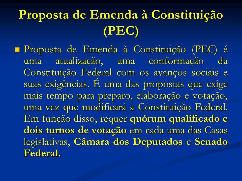 Proposta de Emenda à Constituição (PEC) Proposta de Emenda à Constituição (PEC) é uma atualização, uma conformação da Constituição Federal com os avanços sociais e suas exigências.