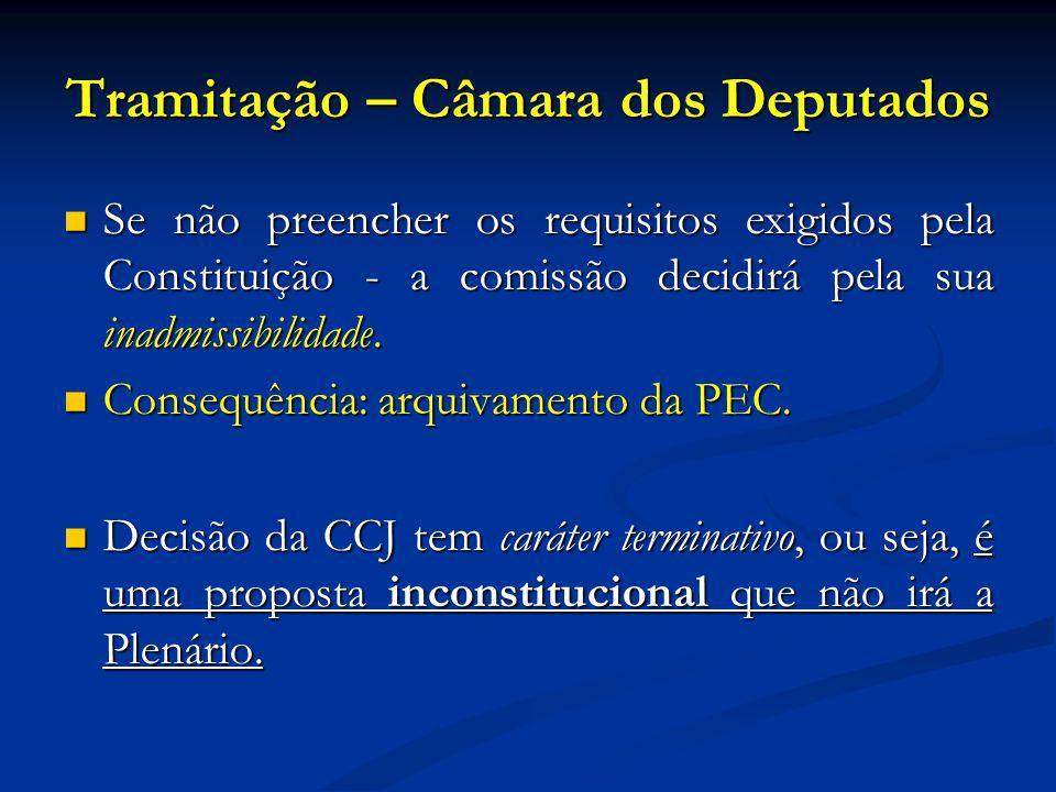 Tramitação – Câmara dos Deputados Se não preencher os requisitos exigidos pela Constituição - a comissão decidirá pela sua inadmissibilidade.