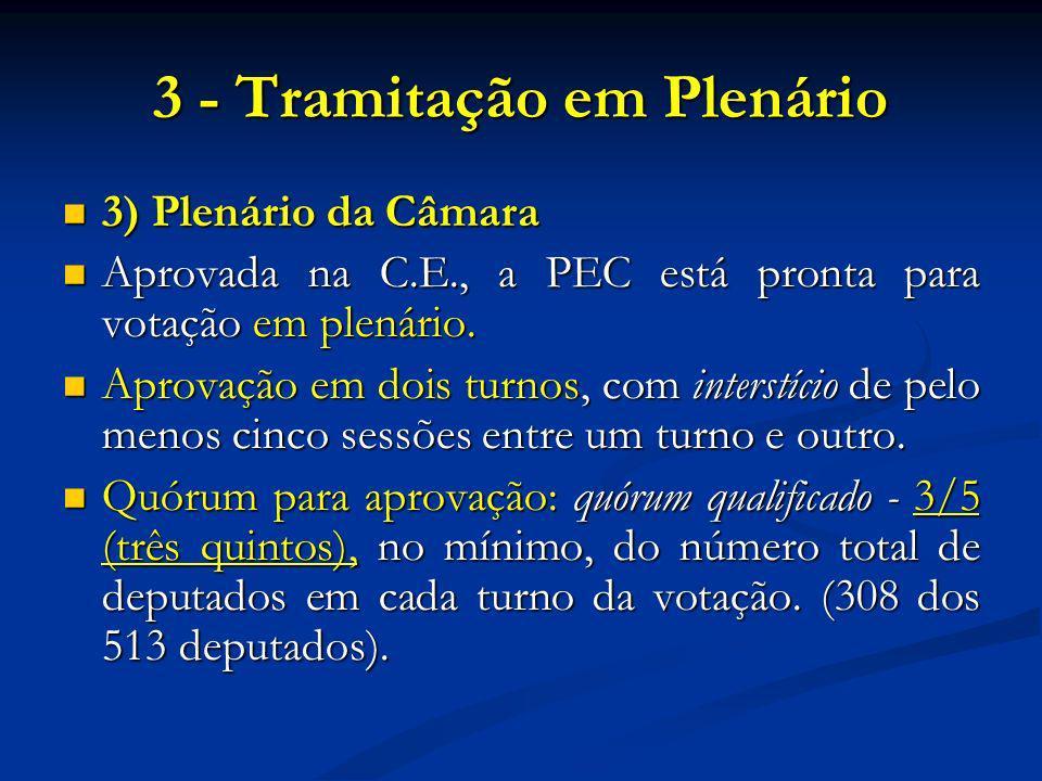 3 - Tramitação em Plenário 3) Plenário da Câmara 3) Plenário da Câmara Aprovada na C.E., a PEC está pronta para votação em plenário.
