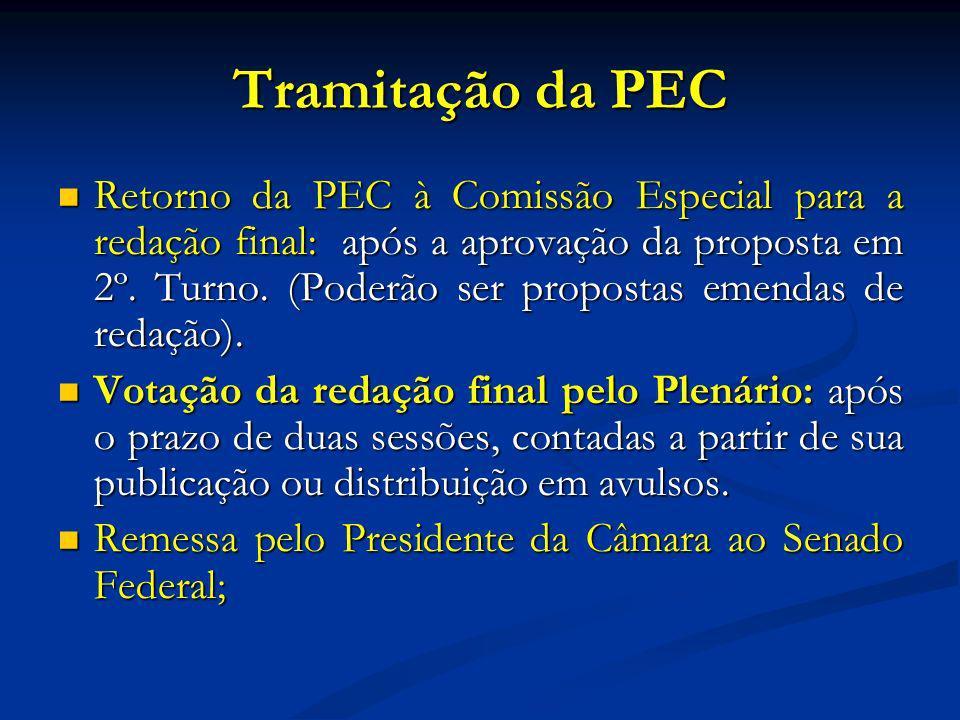 Tramitação da PEC Retorno da PEC à Comissão Especial para a redação final: após a aprovação da proposta em 2º.