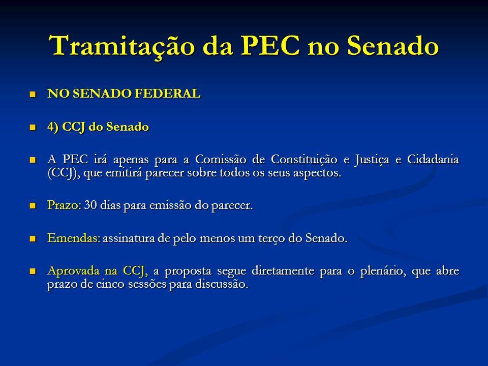 Tramitação da PEC no Senado NO SENADO FEDERAL NO SENADO FEDERAL 4) CCJ do Senado 4) CCJ do Senado A PEC irá apenas para a Comissão de Constituição e Justiça e Cidadania (CCJ), que emitirá parecer sobre todos os seus aspectos.