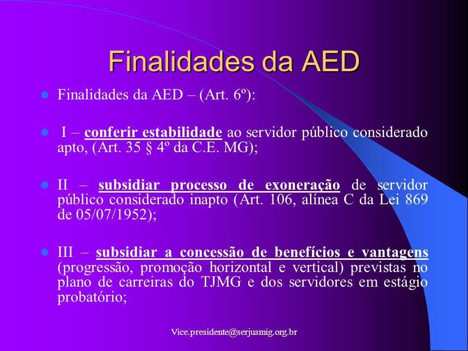 Vice.presidente@serjusmig.org.br Finalidades da AED Finalidades da AED – (Art.