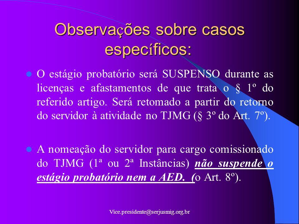 Vice.presidente@serjusmig.org.br Dos Procedimentos da AED A realização da AED deverá ser no último mês de cada etapa prevista (§ 6º, do Art.