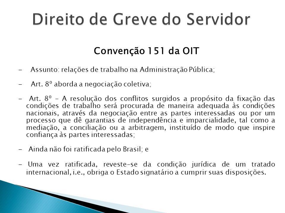 Convenção 151 da OIT - - Assunto: relações de trabalho na Administração Pública; - - Art. 8º aborda a negociação coletiva; - - Art. 8º - A resolução d