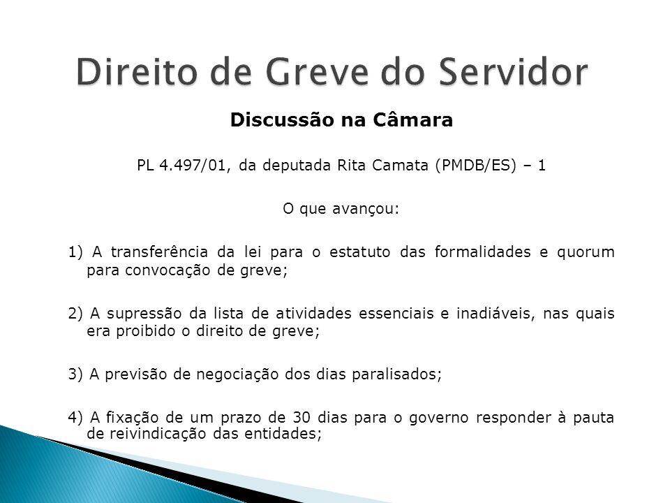 Discussão na Câmara PL 4.497/01, da deputada Rita Camata (PMDB/ES) – 1 O que avançou: 1) A transferência da lei para o estatuto das formalidades e quo