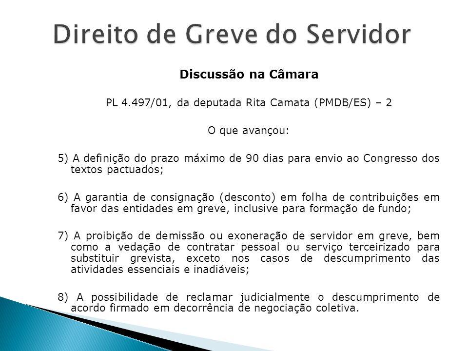 Discussão na Câmara PL 4.497/01, da deputada Rita Camata (PMDB/ES) – 2 O que avançou: 5) A definição do prazo máximo de 90 dias para envio ao Congress