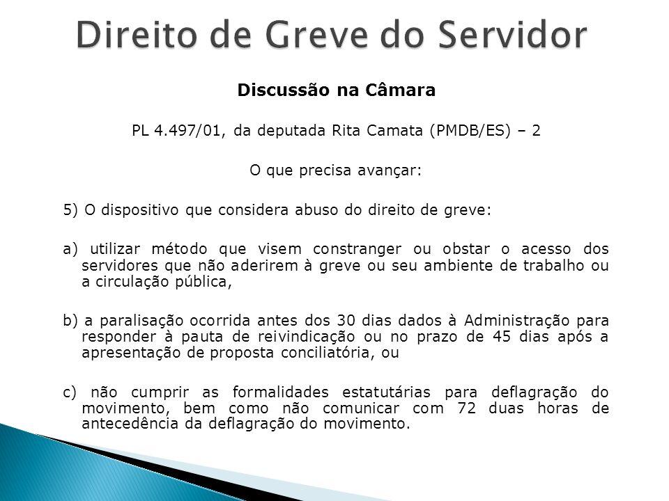 Discussão na Câmara PL 4.497/01, da deputada Rita Camata (PMDB/ES) – 2 O que precisa avançar: 5) O dispositivo que considera abuso do direito de greve