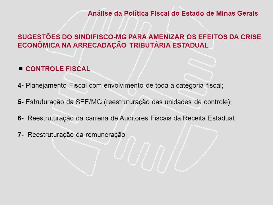 SUGESTÕES DO SINDIFISCO-MG PARA AMENIZAR OS EFEITOS DA CRISE ECONÔMICA NA ARRECADAÇÃO TRIBUTÁRIA ESTADUAL CONTROLE FISCAL 4- Planejamento Fiscal com e