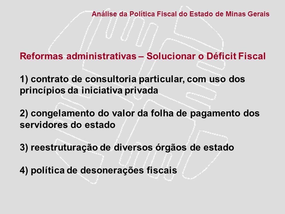 Reformas administrativas – Solucionar o Déficit Fiscal 1) contrato de consultoria particular, com uso dos princípios da iniciativa privada 2) congelam