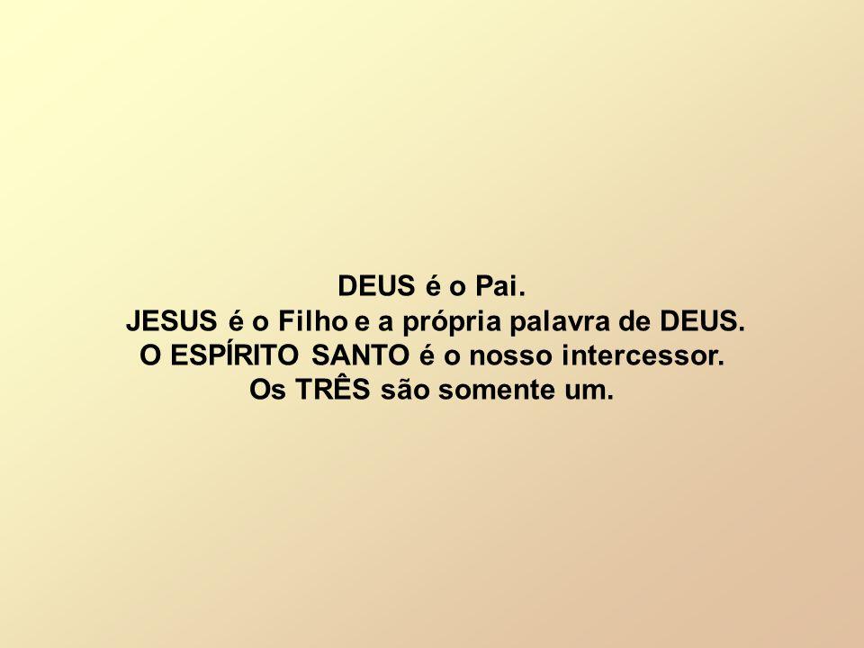 DEUS é o Pai. JESUS é o Filho e a própria palavra de DEUS. O ESPÍRITO SANTO é o nosso intercessor. Os TRÊS são somente um.