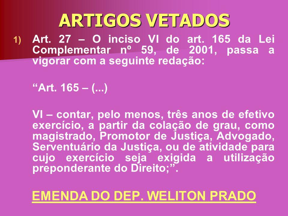 ARTIGOS VETADOS 1) 1) Art. 27 – O inciso VI do art. 165 da Lei Complementar nº 59, de 2001, passa a vigorar com a seguinte redação: Art. 165 – (...) V