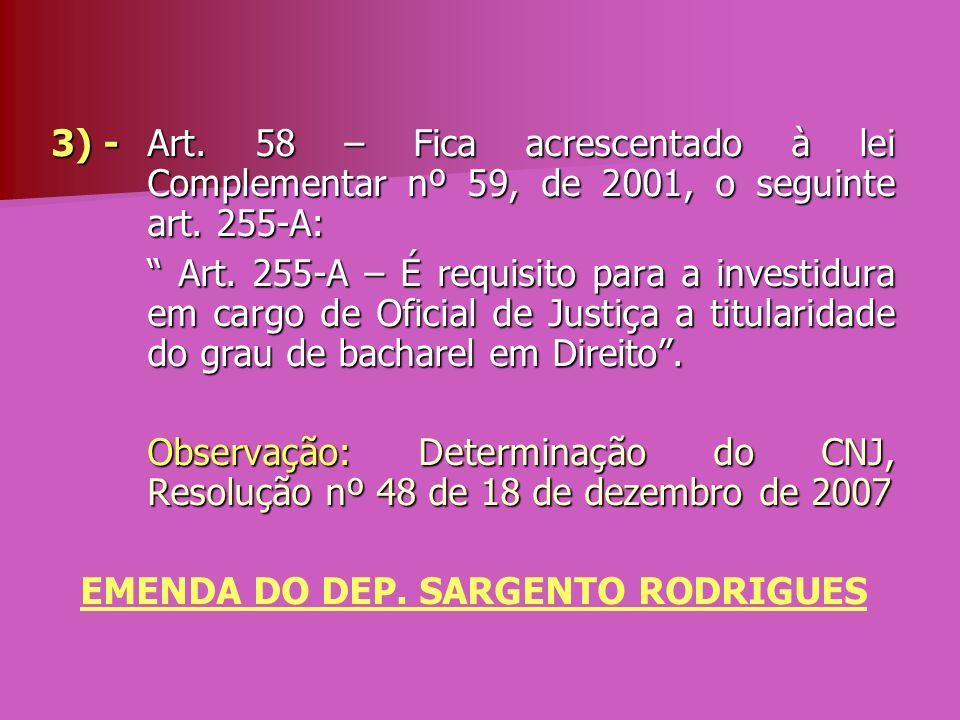 3) - Art. 58 – Fica acrescentado à lei Complementar nº 59, de 2001, o seguinte art. 255-A: Art. 255-A – É requisito para a investidura em cargo de Ofi