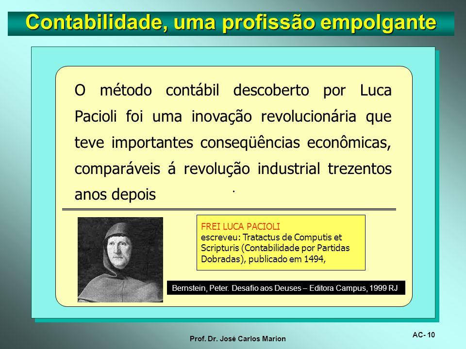 AC- 9 Prof. Dr. José Carlos Marion Contabilidade, uma profissão empolgante..Pesquisa feita pela Ray & Bernedson, empresa especializada em busca de exe
