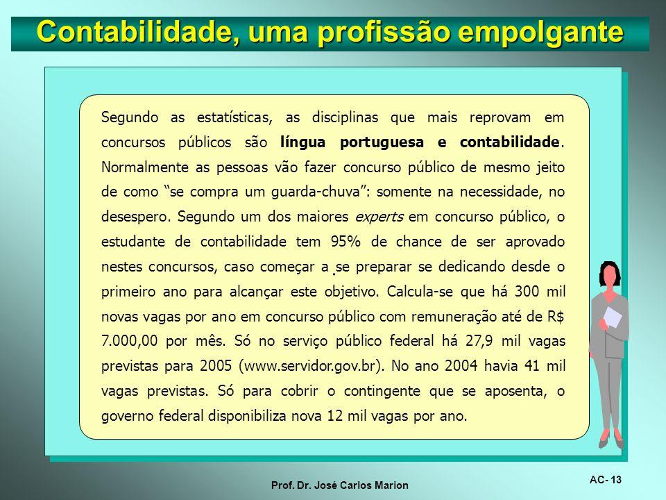 AC- 12 Prof. Dr. José Carlos Marion. O Novo Código Civil, se não reinventou a contabilidade, fortaleceu a carreira do contador. Daqui para frente deve