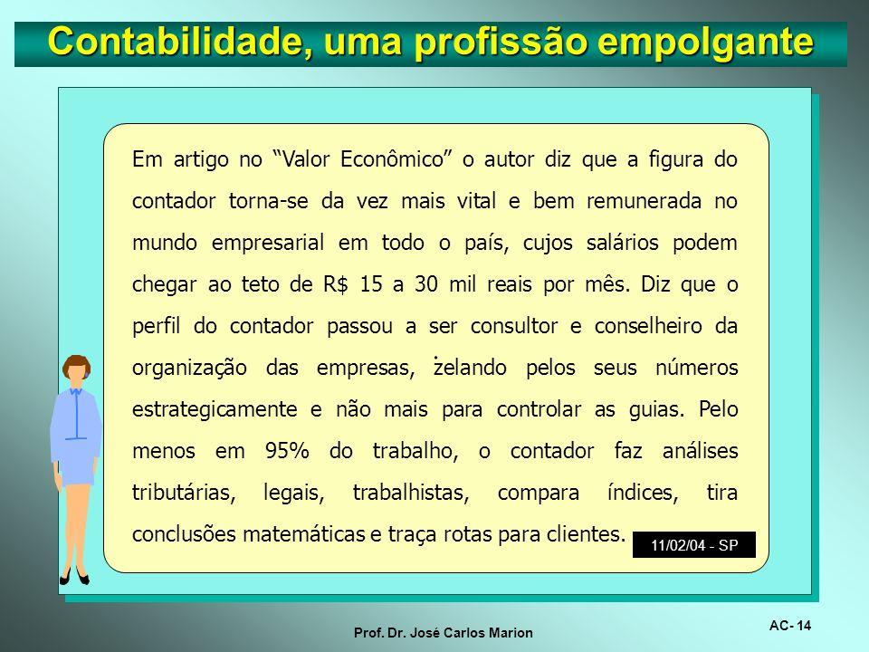 AC- 13 Prof. Dr. José Carlos Marion. Segundo as estatísticas, as disciplinas que mais reprovam em concursos públicos são língua portuguesa e contabili