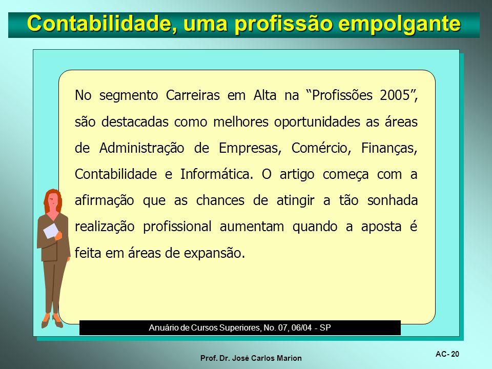 AC- 19 Prof. Dr. José Carlos Marion Contabilidade, uma profissão empolgante O setor de contabilidade está em alta. No período de setembro de 2004 a fe