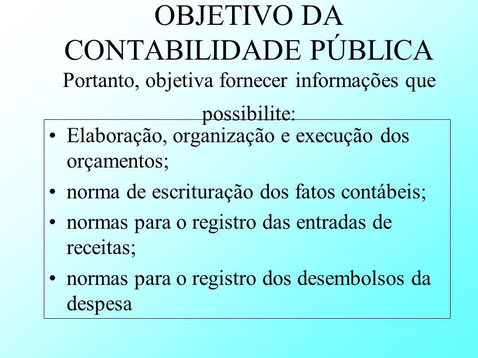 OBJETIVO DA CONTABILIDADE PÚBLICA Portanto, objetiva fornecer informações que possibilite: Elaboração, organização e execução dos orçamentos; norma de
