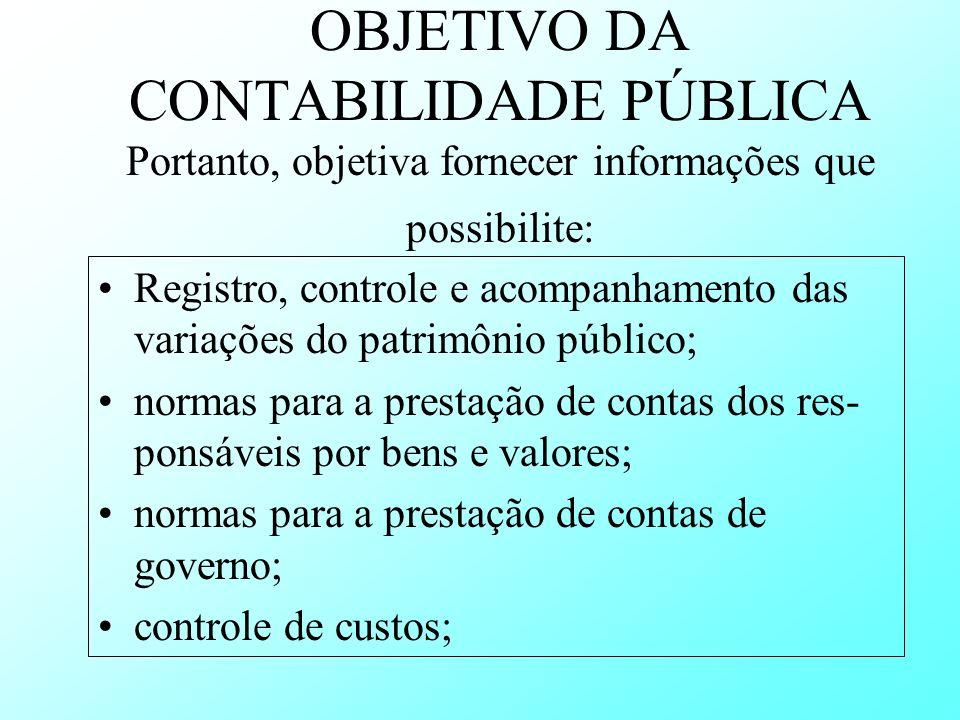 OBJETIVO DA CONTABILIDADE PÚBLICA Portanto, objetiva fornecer informações que possibilite: Registro, controle e acompanhamento das variações do patrim
