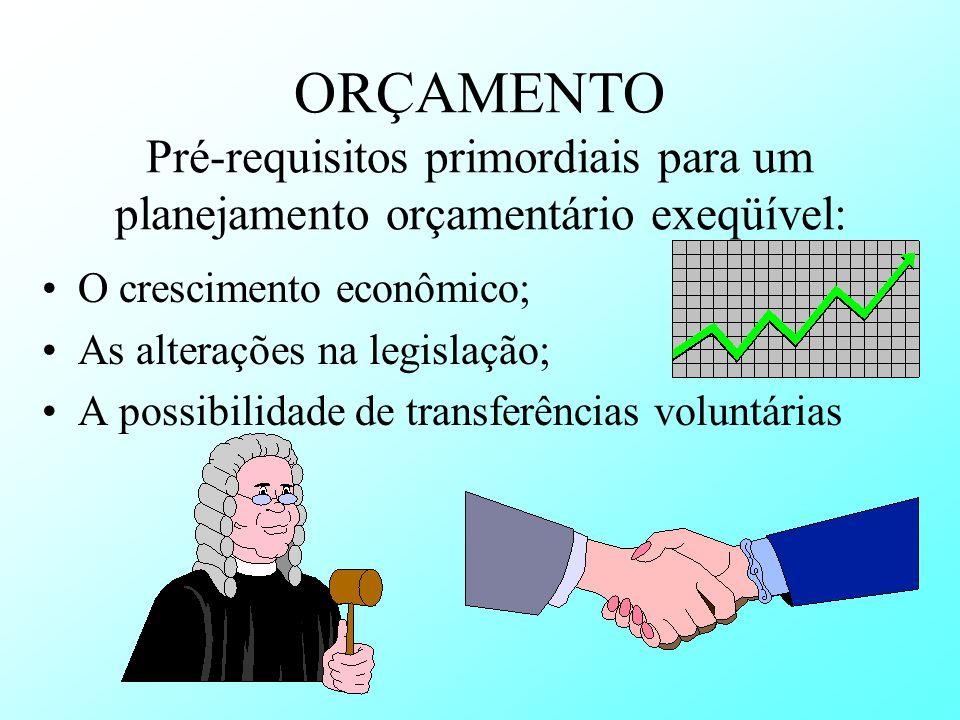 ORÇAMENTO Pré-requisitos primordiais para um planejamento orçamentário exeqüível: O crescimento econômico; As alterações na legislação; A possibilidad