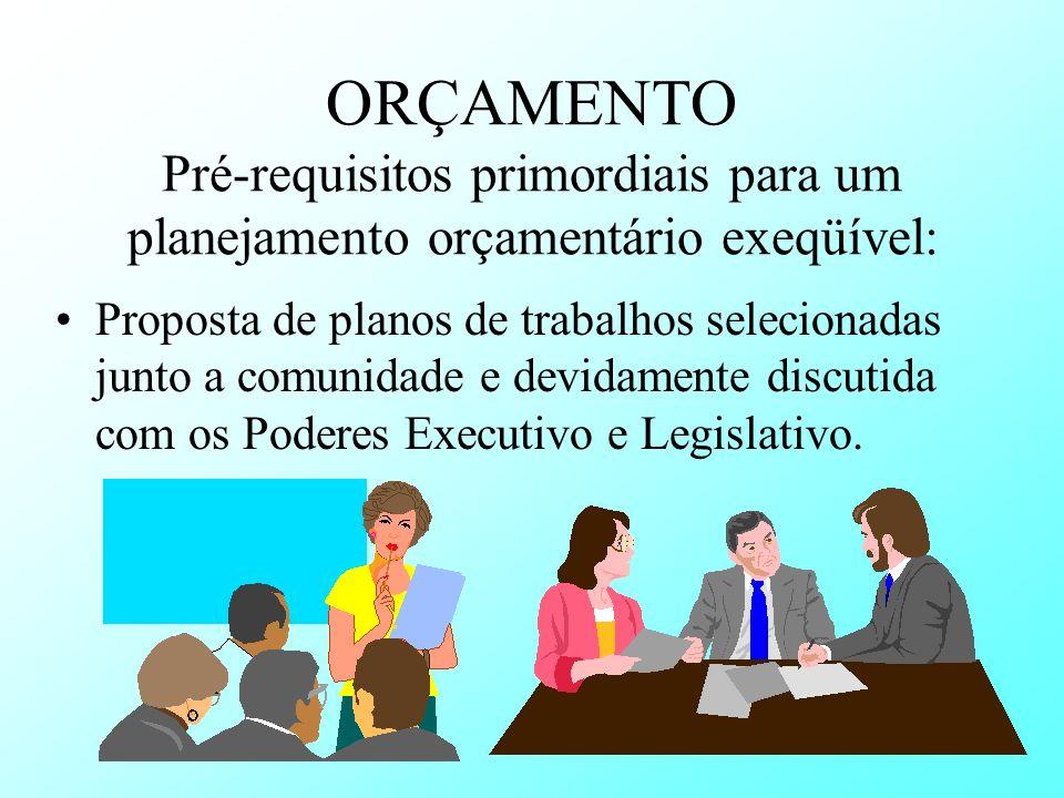ORÇAMENTO Pré-requisitos primordiais para um planejamento orçamentário exeqüível: Proposta de planos de trabalhos selecionadas junto a comunidade e de