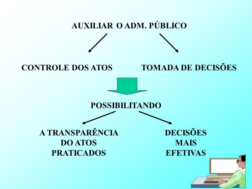 AUXILIAR O ADM. PÚBLICO CONTROLE DOS ATOSTOMADA DE DECISÕES POSSIBILITANDO A TRANSPARÊNCIA DO ATOS PRATICADOS DECISÕES MAIS EFETIVAS