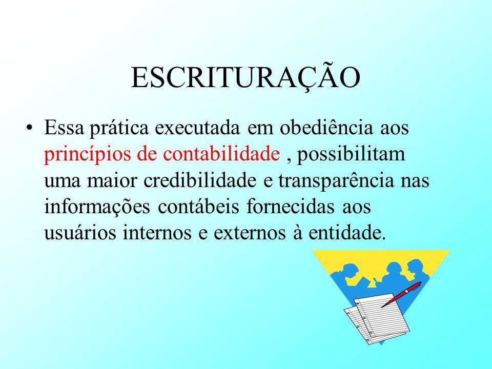 ESCRITURAÇÃO Essa prática executada em obediência aos princípios de contabilidade, possibilitam uma maior credibilidade e transparência nas informaçõe