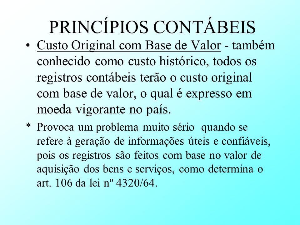 PRINCÍPIOS CONTÁBEIS Custo Original com Base de Valor - também conhecido como custo histórico, todos os registros contábeis terão o custo original com