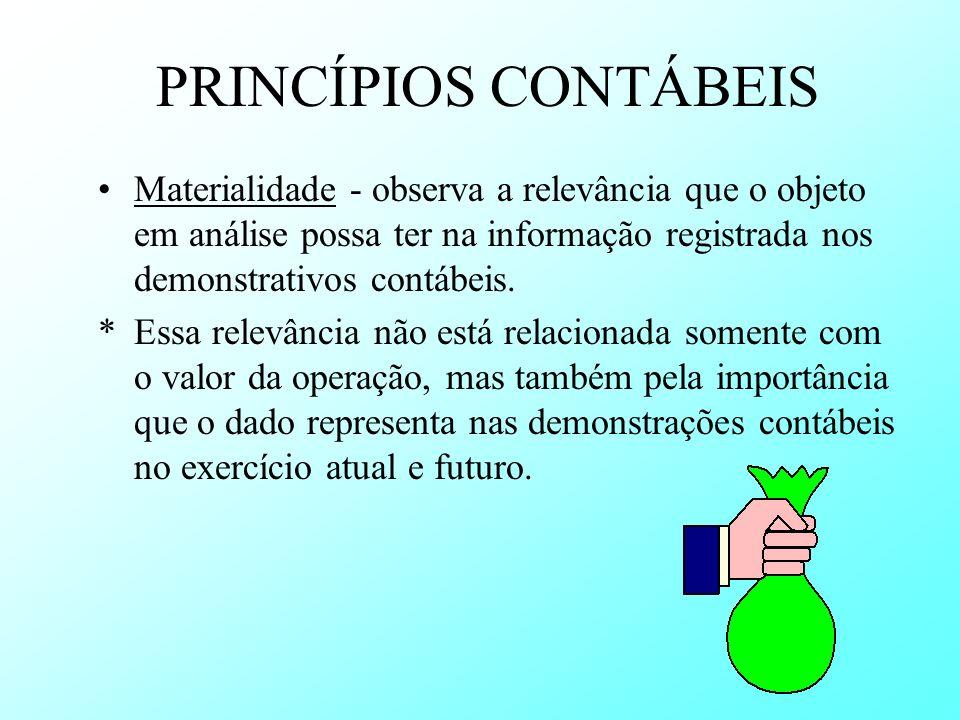 PRINCÍPIOS CONTÁBEIS Materialidade - observa a relevância que o objeto em análise possa ter na informação registrada nos demonstrativos contábeis. *Es