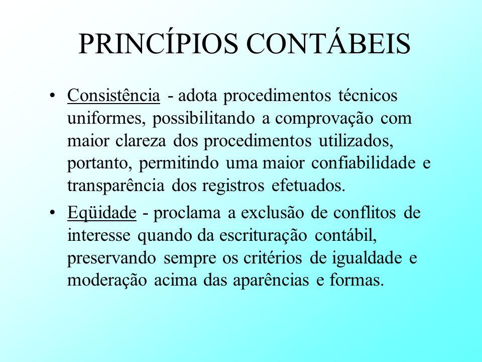 PRINCÍPIOS CONTÁBEIS Consistência - adota procedimentos técnicos uniformes, possibilitando a comprovação com maior clareza dos procedimentos utilizado