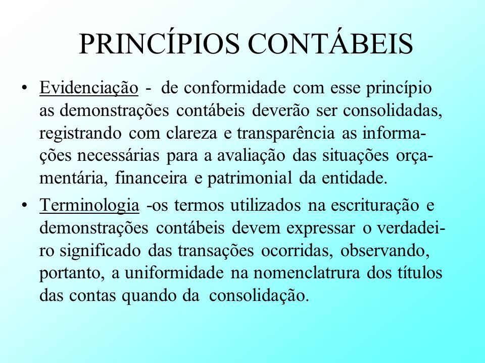 PRINCÍPIOS CONTÁBEIS Evidenciação - de conformidade com esse princípio as demonstrações contábeis deverão ser consolidadas, registrando com clareza e