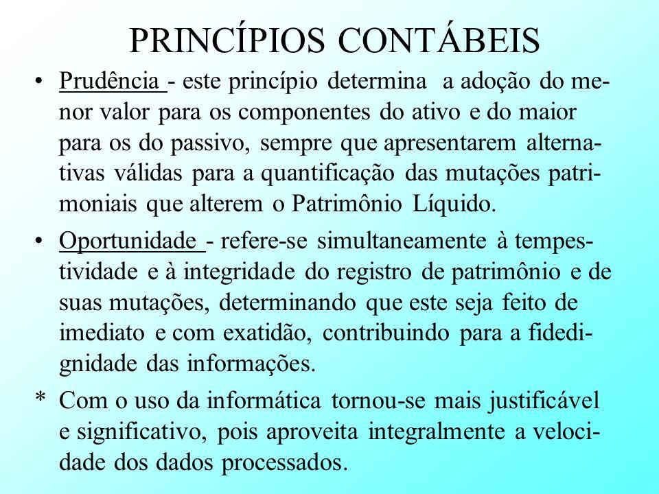 PRINCÍPIOS CONTÁBEIS Prudência - este princípio determina a adoção do me- nor valor para os componentes do ativo e do maior para os do passivo, sempre