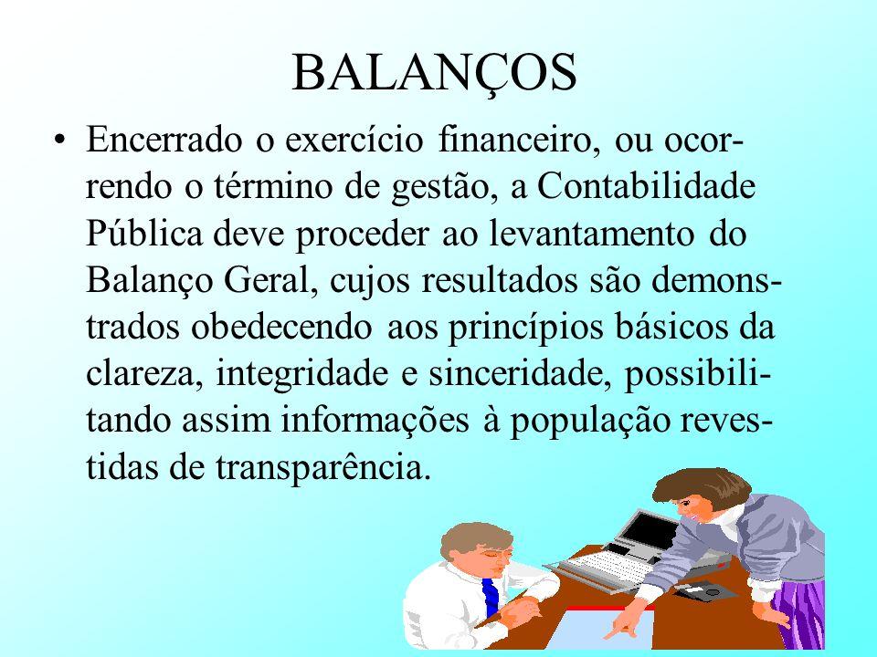 BALANÇOS Encerrado o exercício financeiro, ou ocor- rendo o término de gestão, a Contabilidade Pública deve proceder ao levantamento do Balanço Geral,
