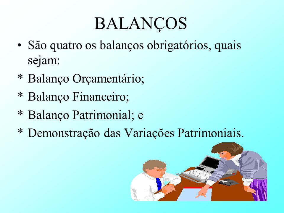 BALANÇOS São quatro os balanços obrigatórios, quais sejam: *Balanço Orçamentário; *Balanço Financeiro; *Balanço Patrimonial; e *Demonstração das Varia