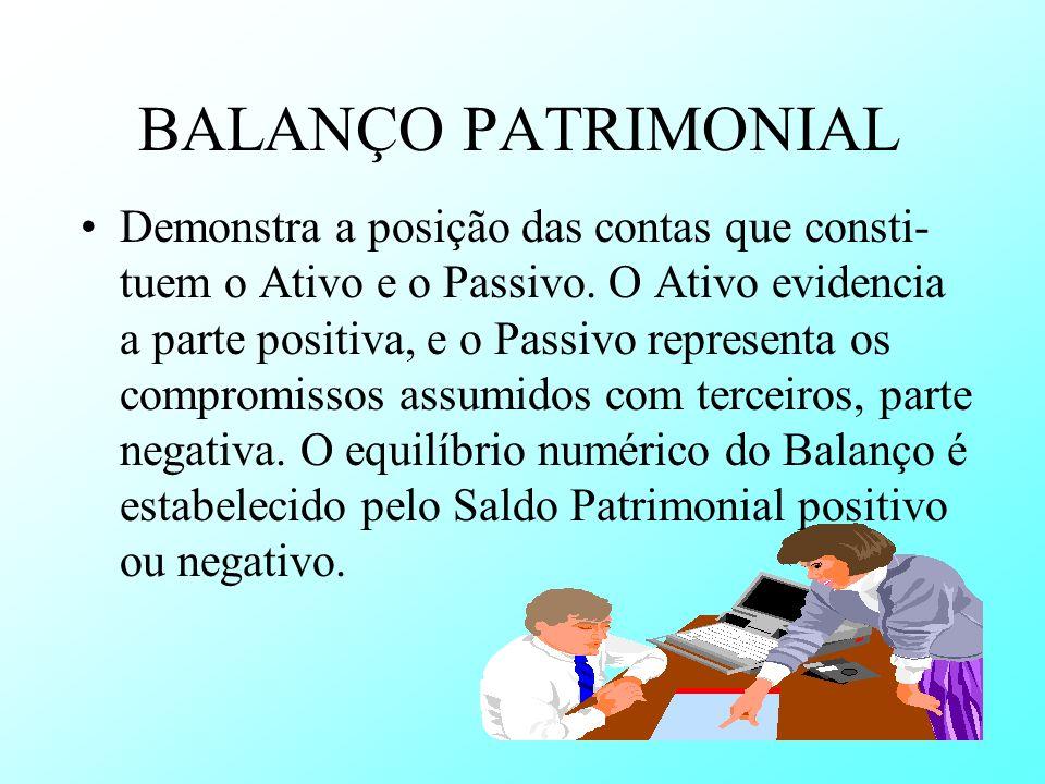 BALANÇO PATRIMONIAL Demonstra a posição das contas que consti- tuem o Ativo e o Passivo. O Ativo evidencia a parte positiva, e o Passivo representa os