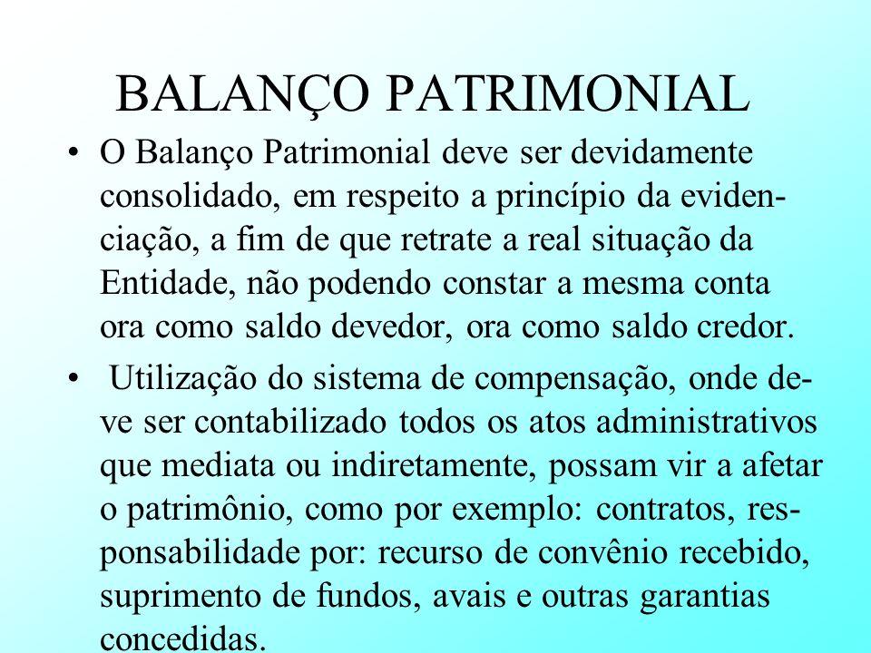 BALANÇO PATRIMONIAL O Balanço Patrimonial deve ser devidamente consolidado, em respeito a princípio da eviden- ciação, a fim de que retrate a real sit