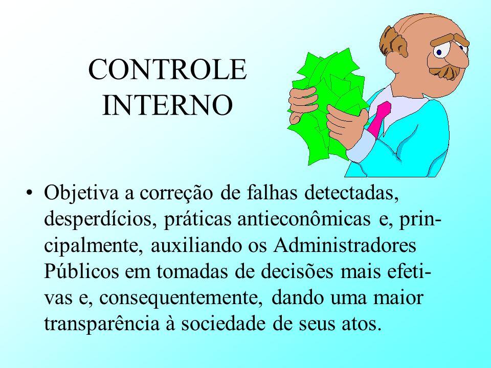 CONTROLE INTERNO Objetiva a correção de falhas detectadas, desperdícios, práticas antieconômicas e, prin- cipalmente, auxiliando os Administradores Pú