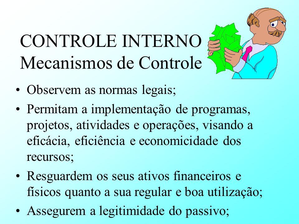 CONTROLE INTERNO Mecanismos de Controle Observem as normas legais; Permitam a implementação de programas, projetos, atividades e operações, visando a