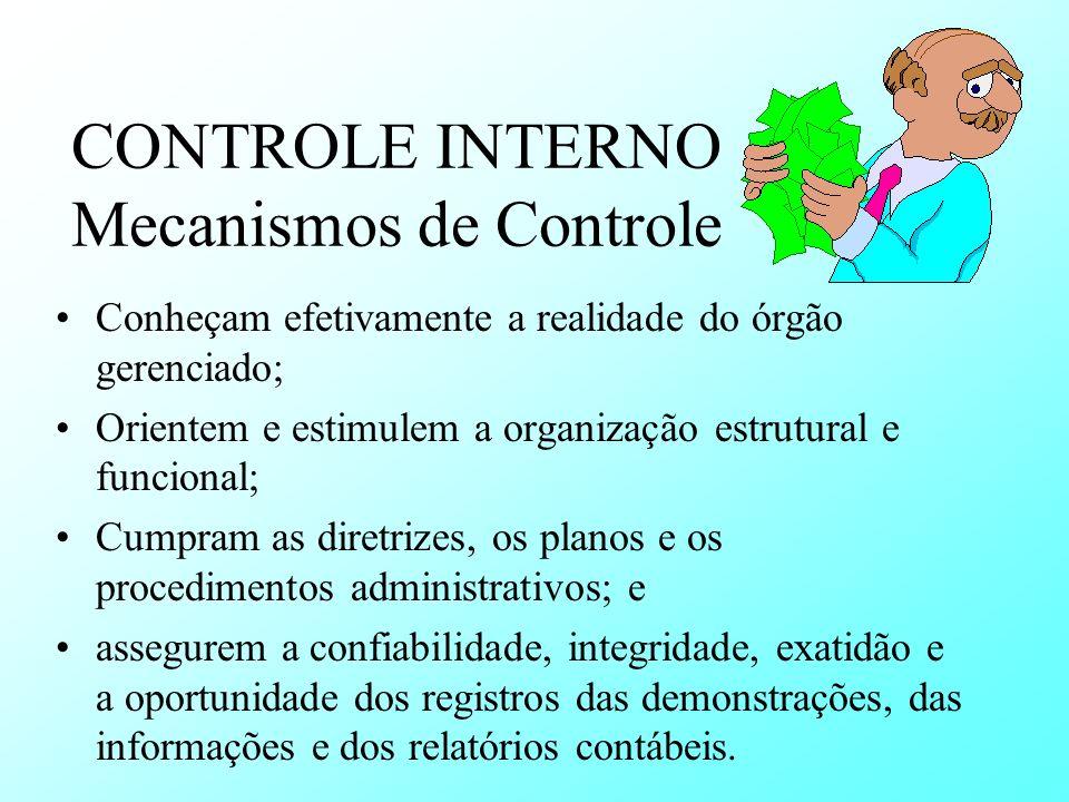 CONTROLE INTERNO Mecanismos de Controle Conheçam efetivamente a realidade do órgão gerenciado; Orientem e estimulem a organização estrutural e funcion