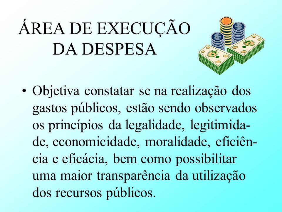 ÁREA DE EXECUÇÃO DA DESPESA Objetiva constatar se na realização dos gastos públicos, estão sendo observados os princípios da legalidade, legitimida- d
