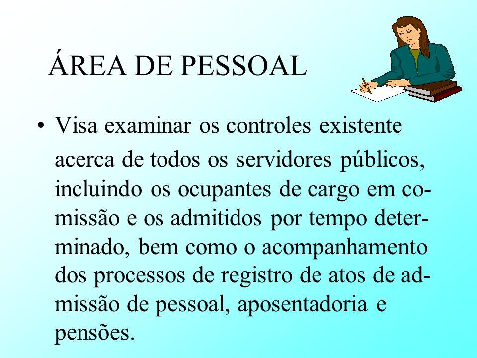 ÁREA DE PESSOAL Visa examinar os controles existente acerca de todos os servidores públicos, incluindo os ocupantes de cargo em co- missão e os admiti