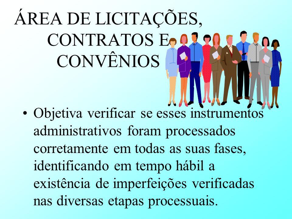 ÁREA DE LICITAÇÕES, CONTRATOS E CONVÊNIOS Objetiva verificar se esses instrumentos administrativos foram processados corretamente em todas as suas fas