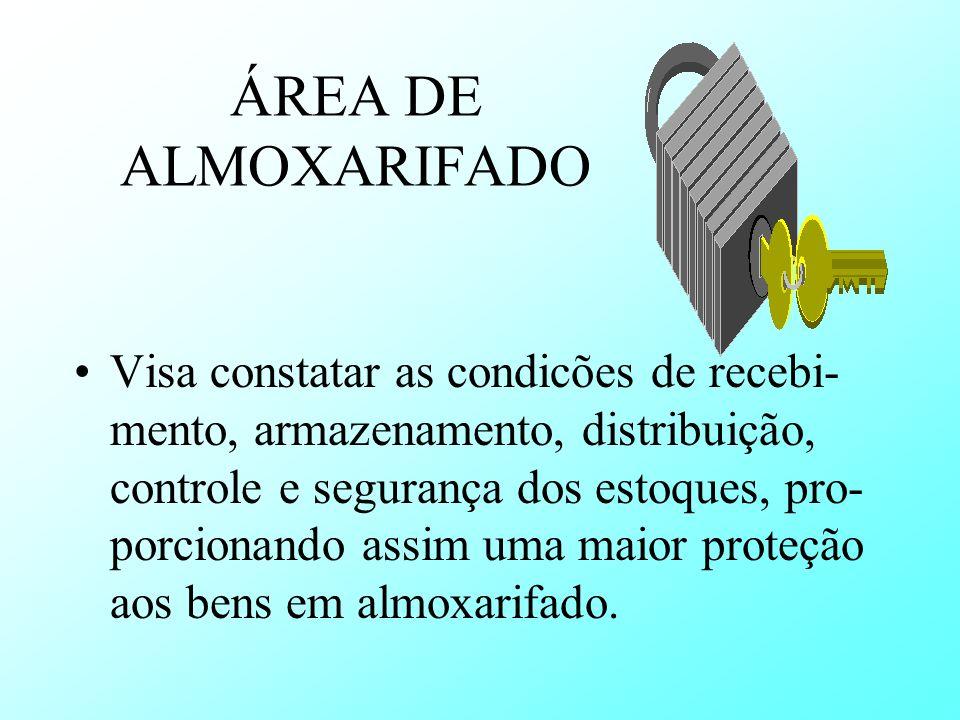 ÁREA DE ALMOXARIFADO Visa constatar as condicões de recebi- mento, armazenamento, distribuição, controle e segurança dos estoques, pro- porcionando as