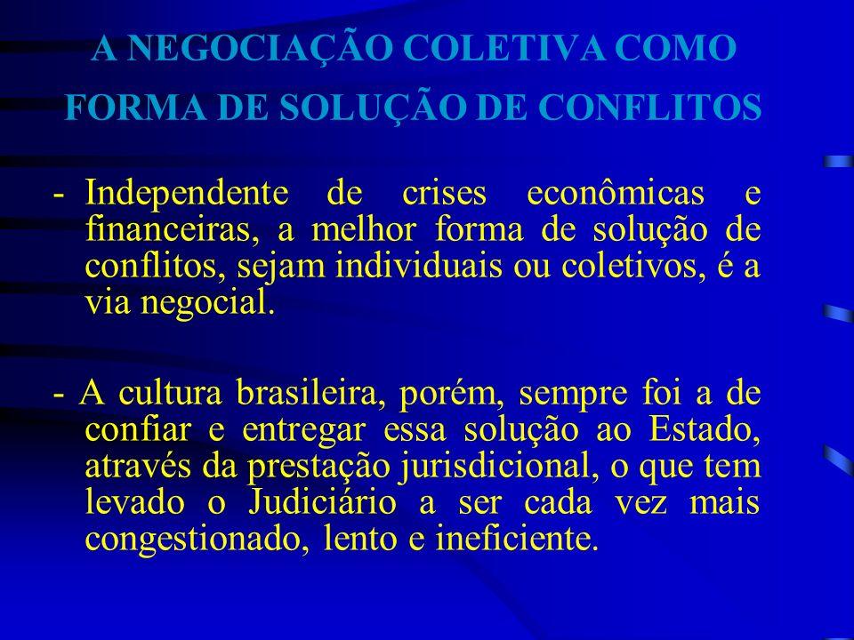 A NEGOCIAÇÃO COLETIVA COMO FORMA DE SOLUÇÃO DE CONFLITOS -Independente de crises econômicas e financeiras, a melhor forma de solução de conflitos, sej
