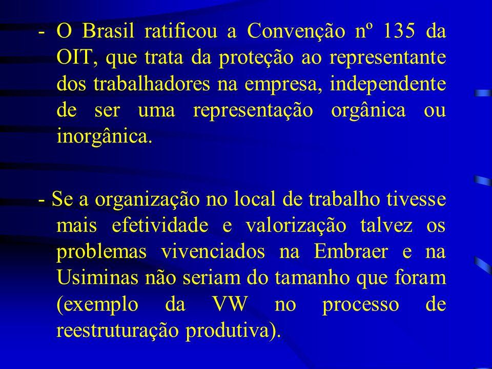 -O Brasil ratificou a Convenção nº 135 da OIT, que trata da proteção ao representante dos trabalhadores na empresa, independente de ser uma representa
