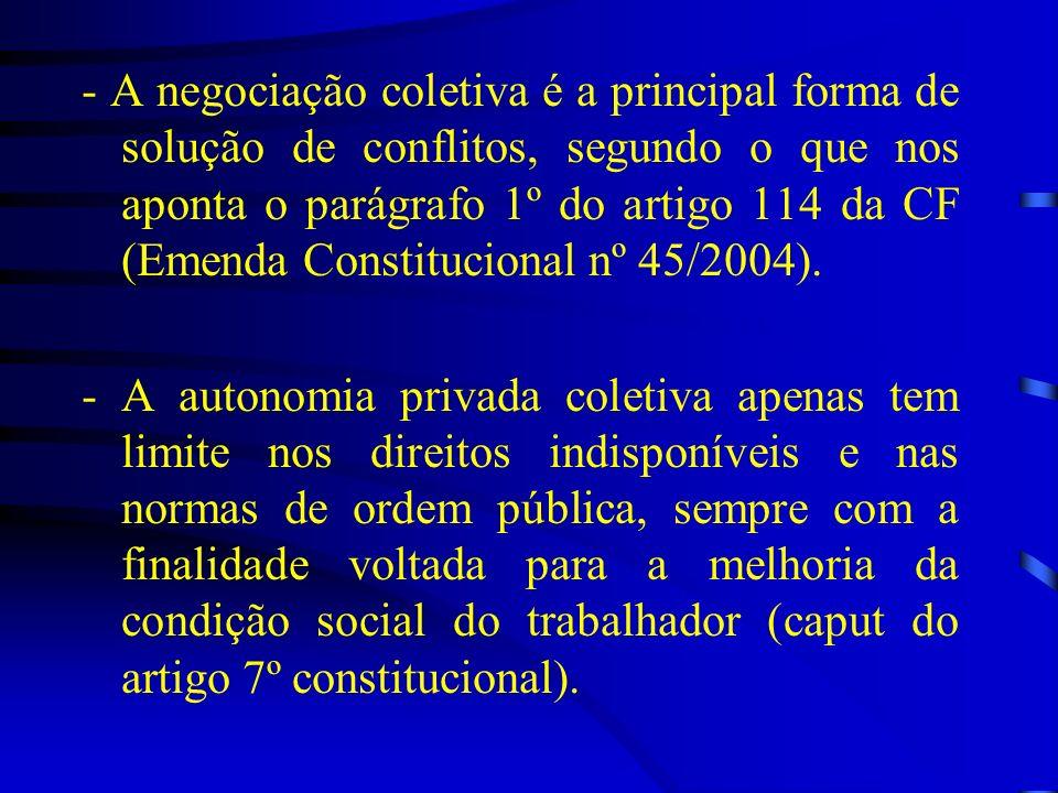 - A negociação coletiva é a principal forma de solução de conflitos, segundo o que nos aponta o parágrafo 1º do artigo 114 da CF (Emenda Constituciona