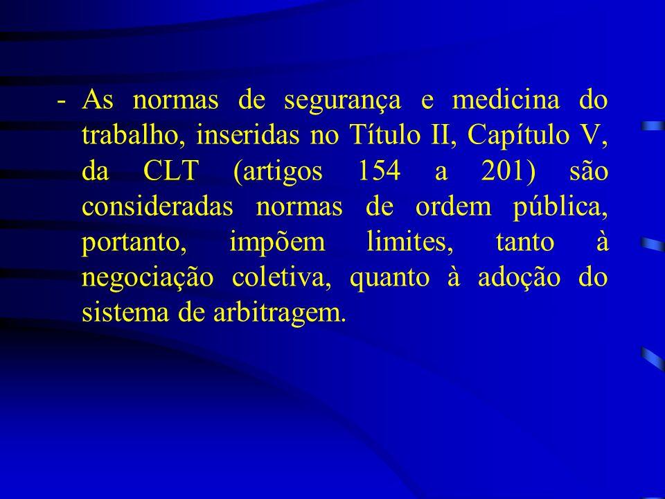 -As normas de segurança e medicina do trabalho, inseridas no Título II, Capítulo V, da CLT (artigos 154 a 201) são consideradas normas de ordem públic