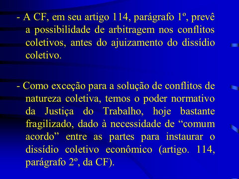 - A CF, em seu artigo 114, parágrafo 1º, prevê a possibilidade de arbitragem nos conflitos coletivos, antes do ajuizamento do dissídio coletivo. - Com