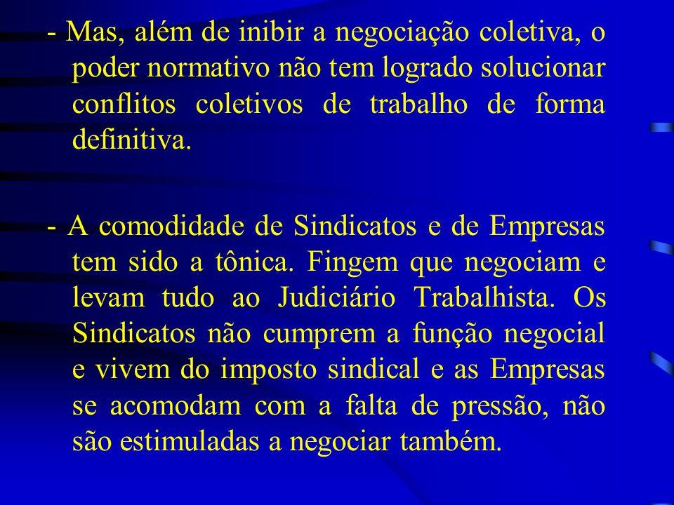 - Mas, além de inibir a negociação coletiva, o poder normativo não tem logrado solucionar conflitos coletivos de trabalho de forma definitiva. - A com